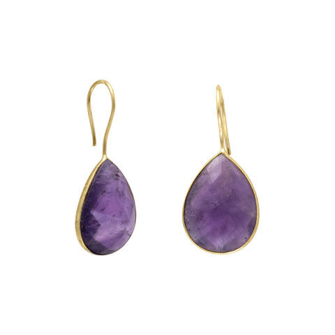 14 Karat Gold Plated Amethyst Earrings