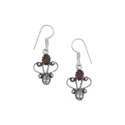 Oxidized Garnet and Blue Topaz Earrings
