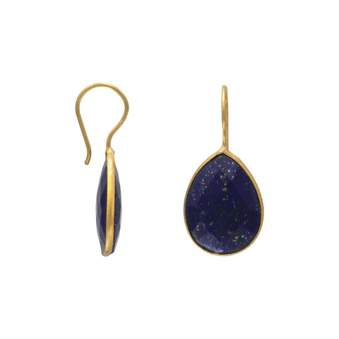 14 Karat Gold Plated Lapis Earrings