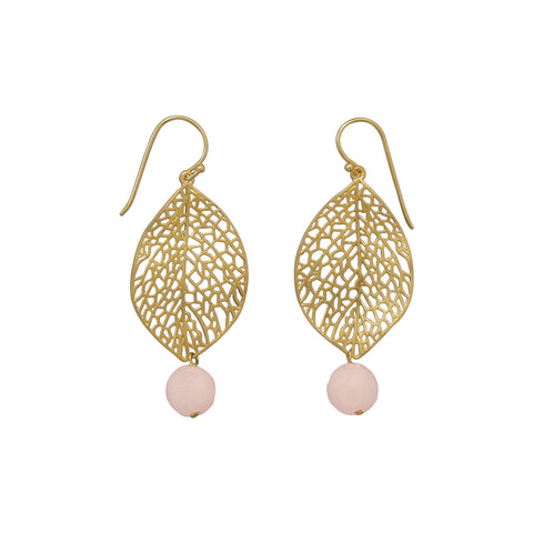 14 Karat Gold Plated Leaf Earrings with Aventurine
