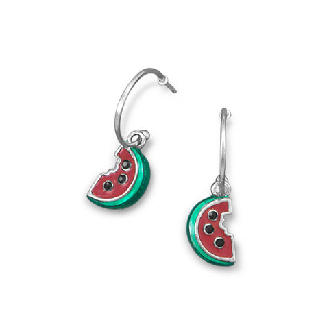 Rhodium Plated 1/2 Hoop Earrings with Watermelon Charm