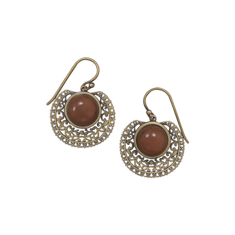 Oxidized 14 Karat Gold Plated Carnelian Earrings