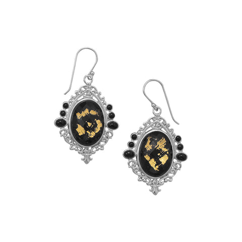 Black Onyx, Gold Leaf and Quartz Earrings