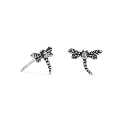 Oxidized Crystal Dragonfly Earrings