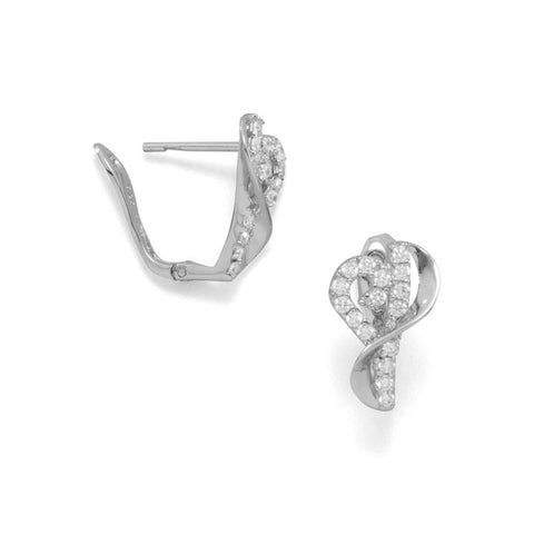 Rhodium Plated CZ Heart Earrings