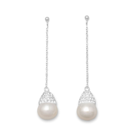 Cultured Freshwater Pearl and Crystal Drop Earrings