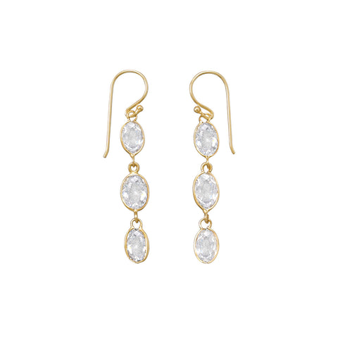 14 Karat Gold Plated CZ Earrings