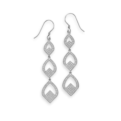 Rhodium Plated Micro Pave CZ Triple Drop Earrings
