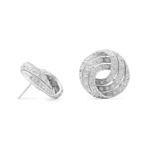 Rhodium Plated CZ Knot Earrings
