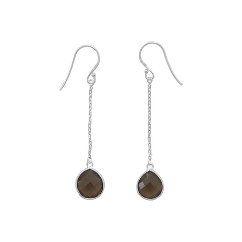 Smoky Quartz Chain Drop Earrings