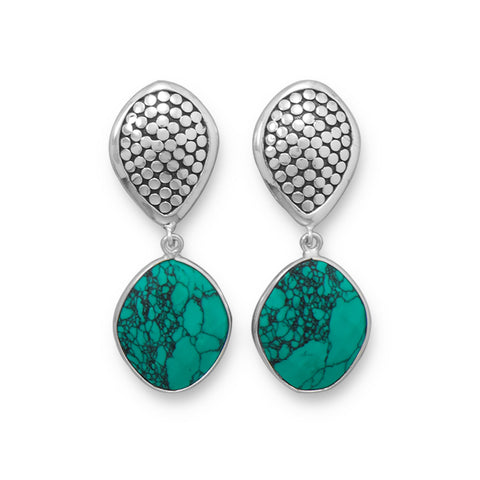 Oxidized Stabilized Turquoise Clip-On Earrings