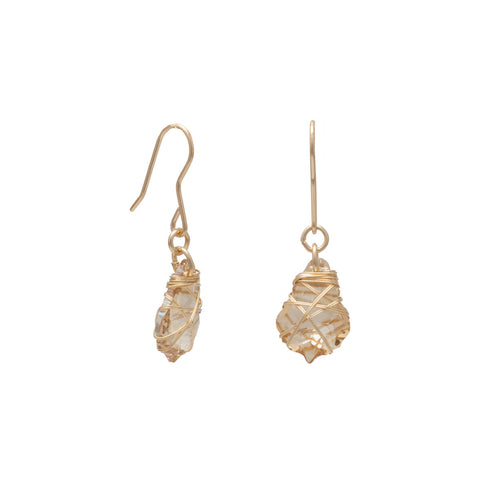 12/20 Gold Filled Champagne Swarovski Crystal Earrings