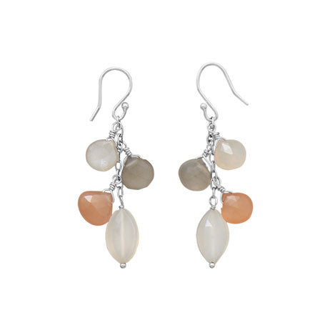 Multicolor Moonstone Drop Earrings