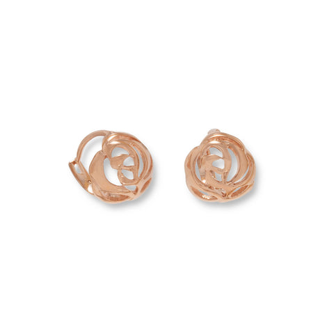 14 Karat Rose Gold Plated Cut Out Rose Design Earrings