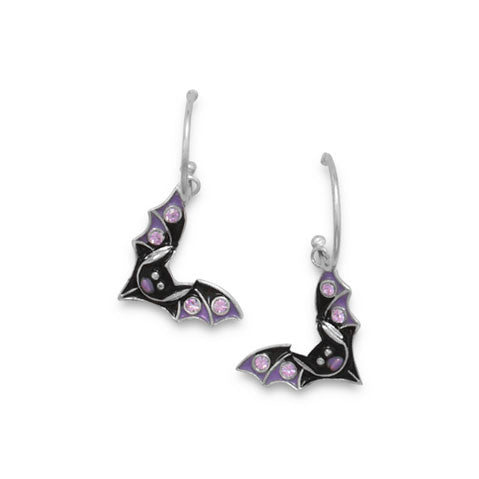 Rhodium Plated Hoop Earrings with Bat Charms