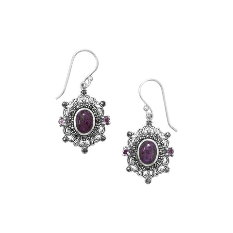 Ornate Marcasite and Purple Turquoise Earrings