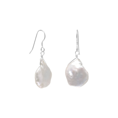 White Baroque Cultured Freshwater Pearl Earrings