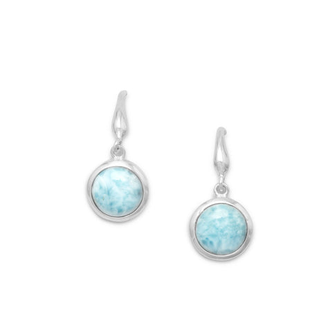Rhodium Plated Larimar Drop Earrings