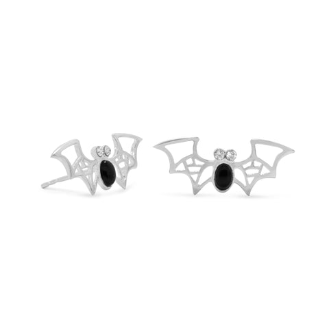 Black Onyx and Crystal Bat Earrings