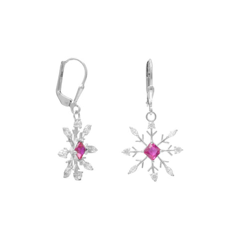 Rhodium Plated Snowflake Earrings with Clear and Red CZ