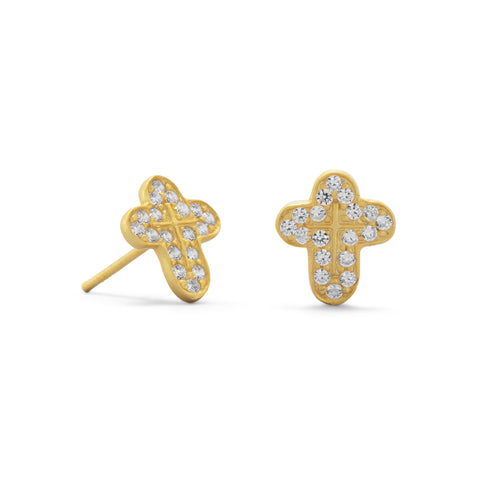 14 Karat Gold Plated CZ Cross Earrings