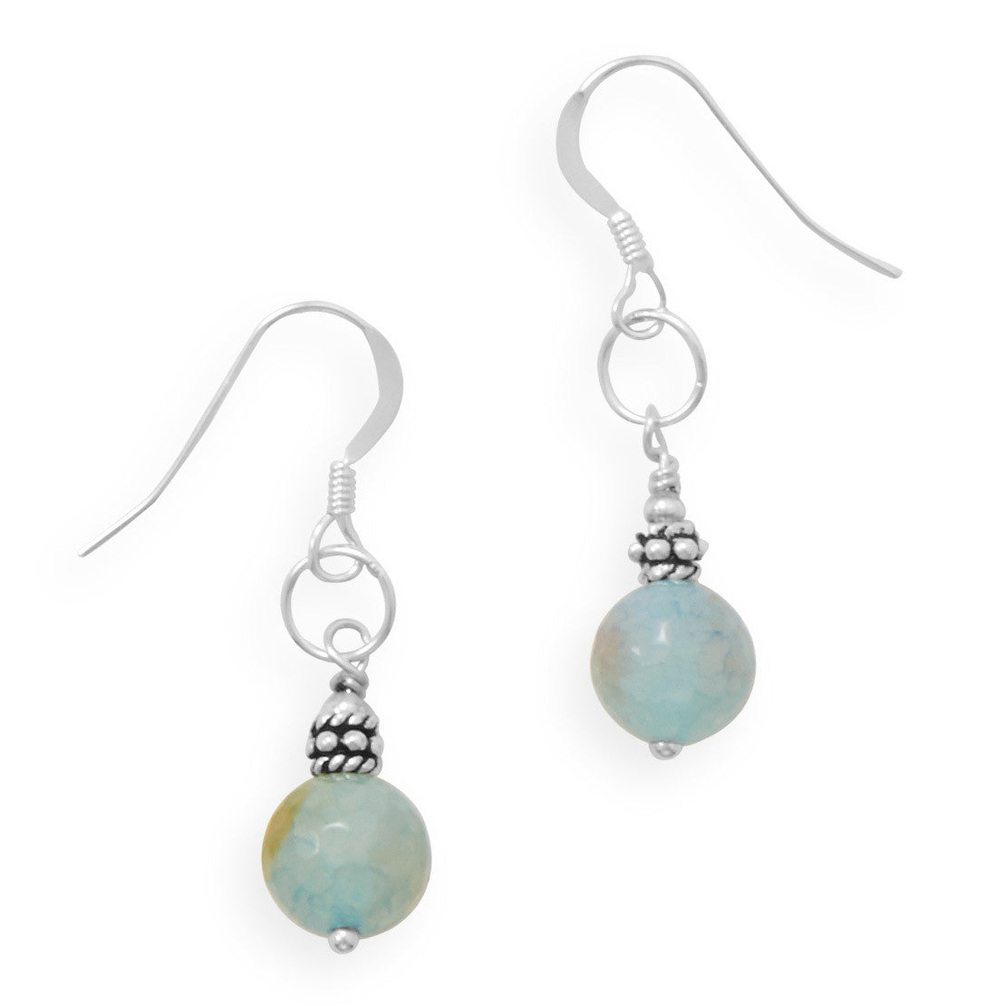 HANDMADE Faceted Fire Agate French Wire Earrings