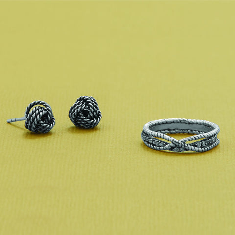 Oxidized Braid Design Ring
