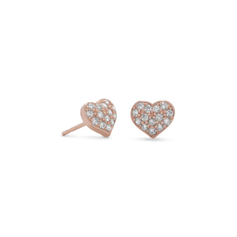14 Karat Rose Gold Plated CZ Heart Earrings