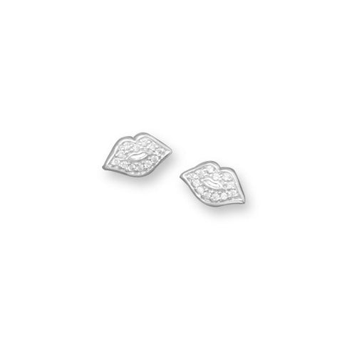 Rhodium Plated CZ Lip Earrings