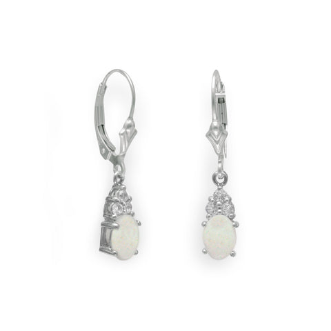 Rhodium Plated Australian Opal and White Topaz Earrings