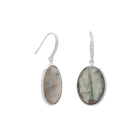 Labradorite and CZ Wire Earrings