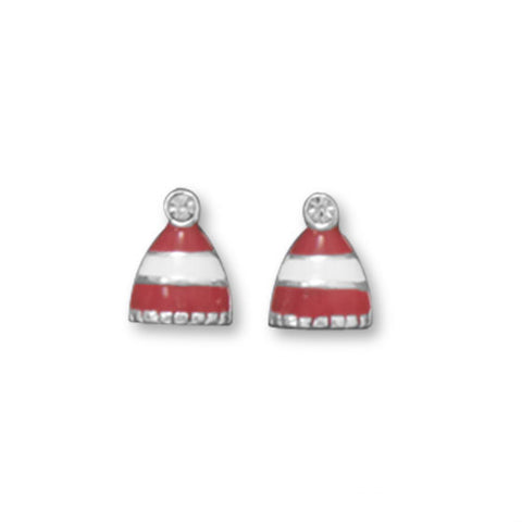 Red and White Stripe Winter Hat Stud Earrings