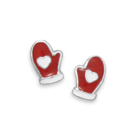 Red and White Mitten Stud Earrings