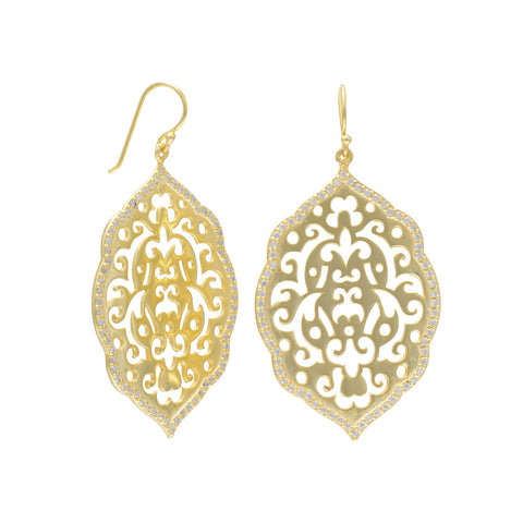 14 Karat Gold Plated Ornate Drop Earrings