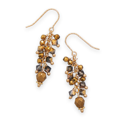 14 Karat Gold Plated Earrings with Crystal and Glass Bead Drop