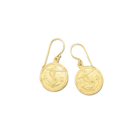 14 Karat Gold Plated Anchor Earrings