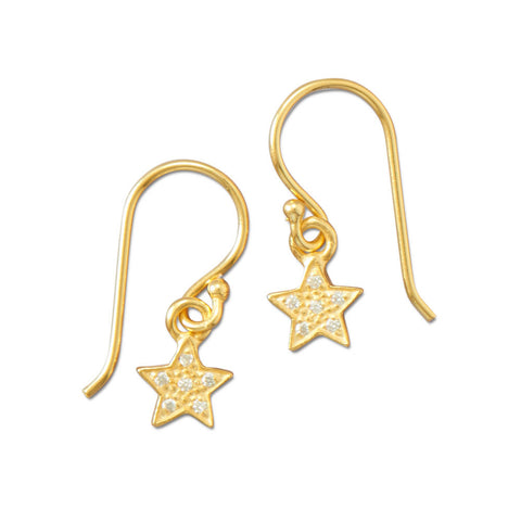 14 Karat Gold Plated Pave CZ Star Earrings