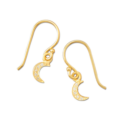 14 Karat Gold Plated Pave CZ Moon Earrings