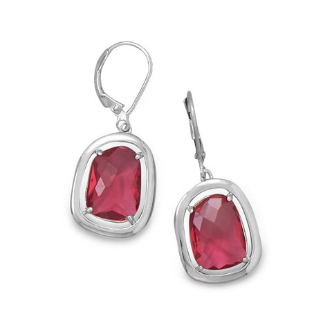 Rhodium Plated Abstract Faceted Red Glass Earrings