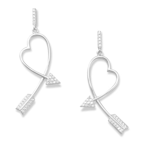 CZ Post Earrings with Heart Arrow Drops