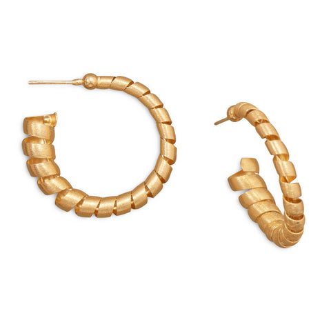 14 Karat Gold Plated 3/4 Hoop Earrings with Spiral Design