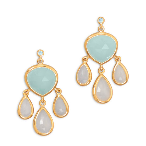 14 Karat  Gold Plated Topaz and Chalcedony Drop Earrings
