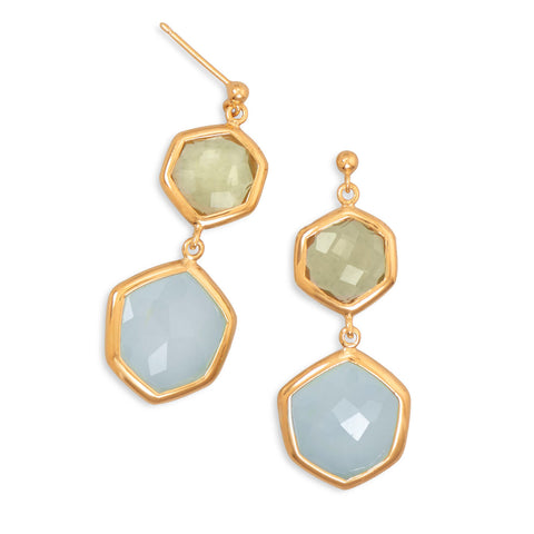 14 Karat Gold Plated Quartz and Chalcedony Drop Earrings