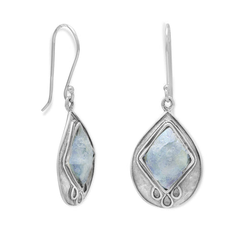 Textured Pear Ancient Roman Glass Earrings