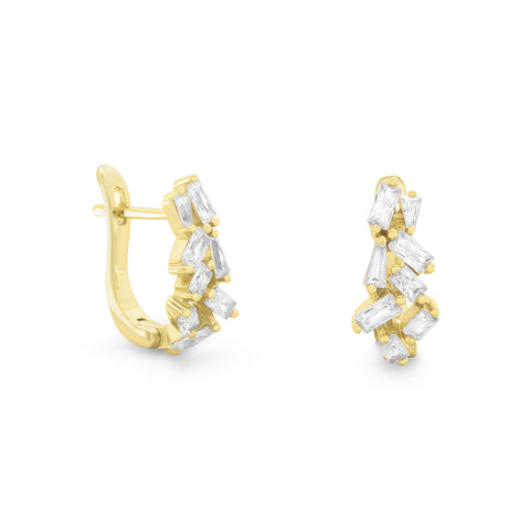 14 Karat Gold Plated CZ Hinged Earrings