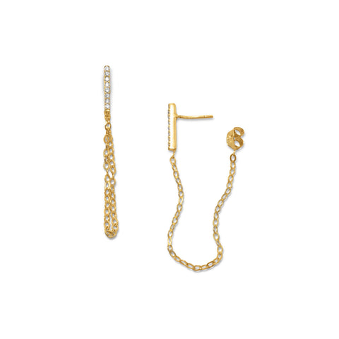 14 Karat Gold Plated CZ Bar Post Chain Drop Earrings