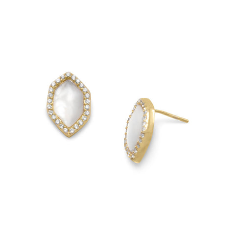 14 Karat Gold Plated Mother of Pearl and CZ Halo Earrings