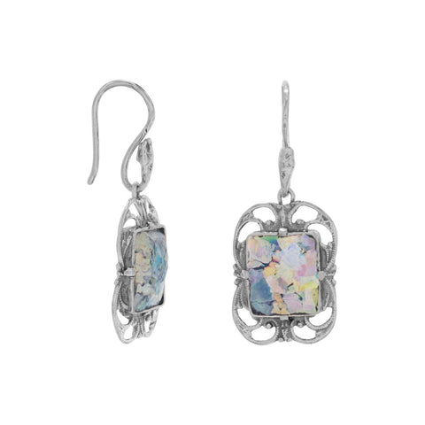 Ornate Oxidized Roman Glass Earrings