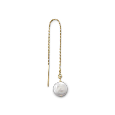 Single Cultured Freshwater Coin Pearl Threader Earring