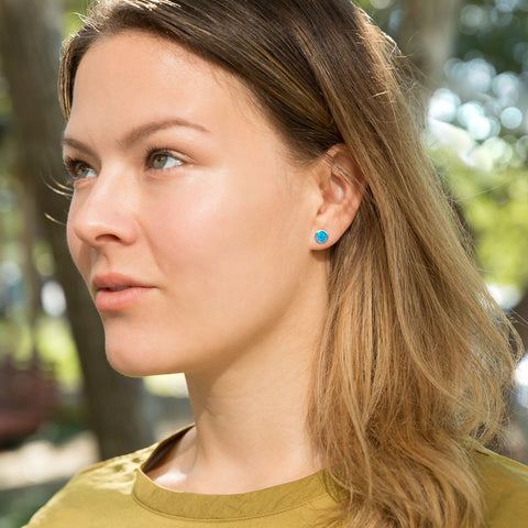 Mismatch Synthetic Opal and Spike Front Back Earrings